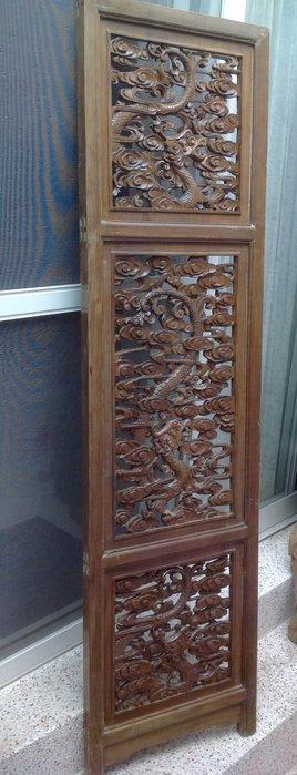 【黑狗兄】老窗花門雕花門,木雕龍,木門,木窗,隔扇,屏風一件----H-15