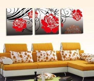 INPHIC-裝飾畫無框畫客廳掛畫壁畫臥室餐廳現代時尚家居三聯畫 牡丹花