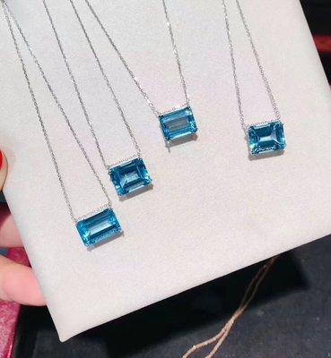 【托帕石項鍊】純天然瑞士藍托帕石項鍊 經典瑞士藍 全淨體火光閃 超級美