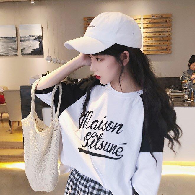 FINDSENSE G6 韓國時尚潮流 2019夏季新款日常百搭插肩撞色字母印花圓領T恤女裝上衣
