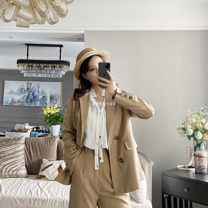 【暖暖的小屋】 軒軒自制 2020秋裝新正韓百搭休閒外套服兩件套蘿卜褲西裝套裝女