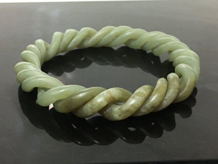 【玉格格】早期收藏活動螺旋紋和闐糖青白玉鏤刻雕【 玉鐲 】3980 元低價起標 ~~~