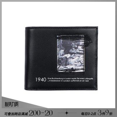 韓風專櫃飾品BLACKHEAD黑頭/反戰系列個性圖案印花黑色牛皮錢夾錢包短款多卡位