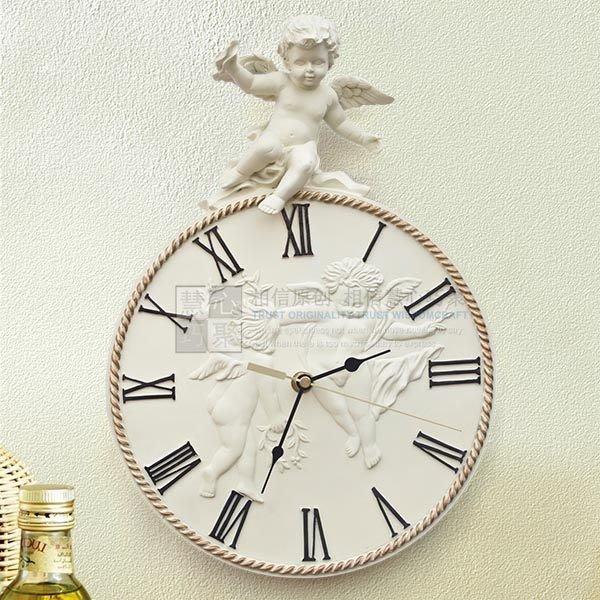 粉紅玫瑰精品屋~暢銷經典歐式客廳卧室靜音鐘樹脂藝術掛鐘丘比特壁鐘~現貨+預購