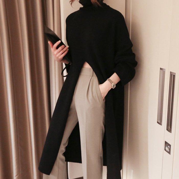 SEYES 好好看的2色針織毛衣開衩長版高領長板洋裝