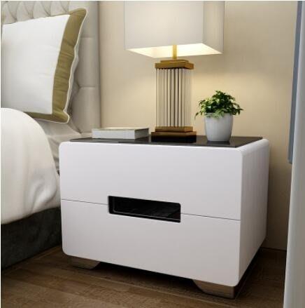 【全館免運】床頭櫃 床頭櫃簡約現代玻璃面烤漆白色床頭櫃組裝儲物櫃整裝收納邊櫃 【奇妙城】