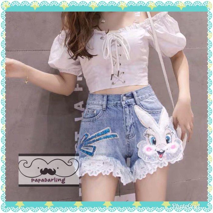 PapaDarling 19SS 歐美時尚潮流卡通兔子亮片蕾絲花邊牛仔短褲
