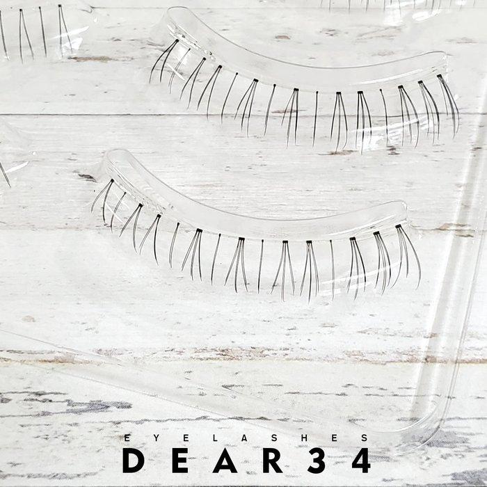 《Dear34》極細磨尖下睫毛19 透明梗根根分明自然眼尾加長小草款日系逼真自然純手工編織假睫毛一盒五對價