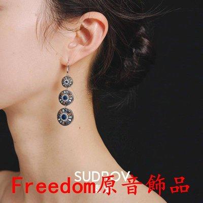 Freedom`原音飾品純銀景泰藍復古耳釘設計感小眾巴洛克民族風耳環女長款夸張耳墜