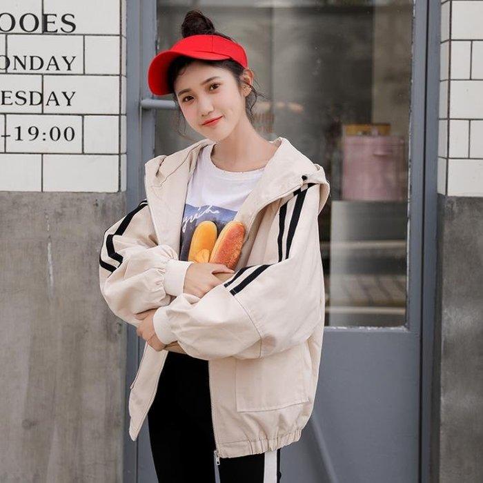 外套女春秋韓版學生2018新款bf原宿風寬鬆休閒百搭短款連帽學院風