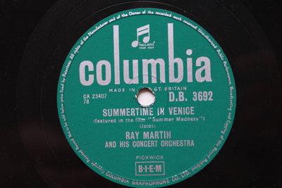 威尼斯之夏《Summertime In Venice》78轉 10吋 蟲膠唱片 電木唱片