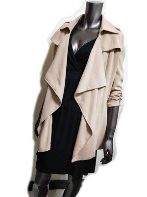 正韓國製淺卡其色自然垂墜剪裁寬鬆寬版薄外套罩衫