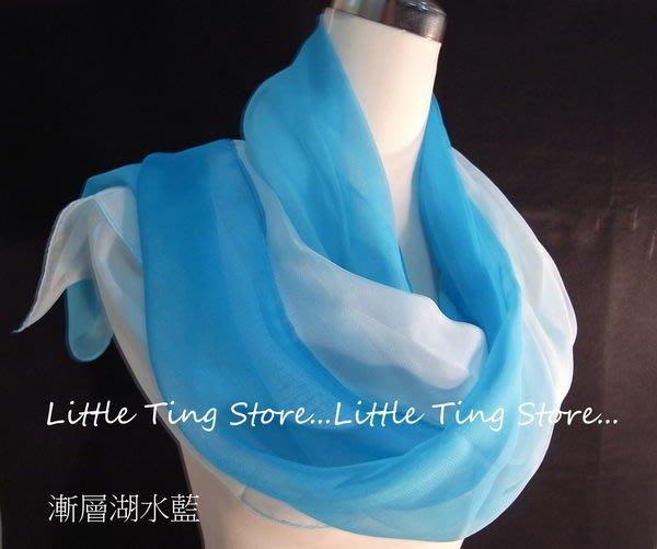 Little Ting Store:SILK漸層素面絲巾(寬版)長巾髮圈/髮帶可搭配絲巾圍巾披肩頭巾帽子湖水藍