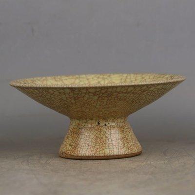 ㊣姥姥的寶藏㊣ 宋代哥窯金絲鐵線高足果盤碗  出土古瓷器古玩古董收藏手工瓷