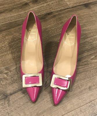 現貨 Roger Vivier Patent Leather Buckle Stiletto Heels Us6.5-7