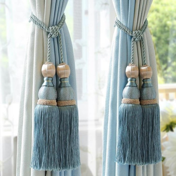 窗簾掛球綁球綁帶綁繩吊球吊穗雙球綁花掛鉤裝飾球流蘇多色