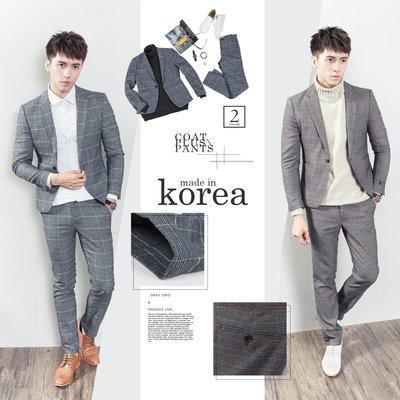 。SW。【K31163】免運 正韓MR 韓國製 修身顯瘦 質感 彈性西裝布 窄版 雅痞紳士 格紋 成套西裝  英倫 GD
