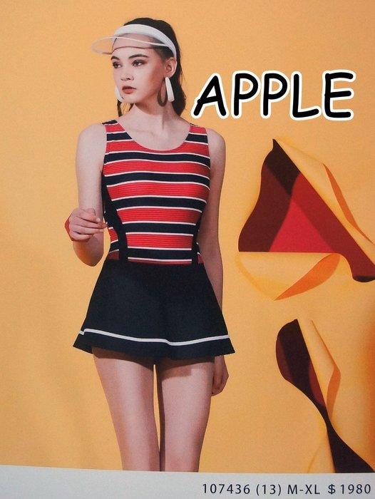 KINI零碼L出清1190元-APPLE蘋果牌*大女泳裝107436 休閒風連身裙泳衣*時尚黑紅條紋