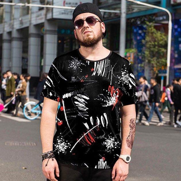 FINDSENSE品牌監製 大尺碼男裝 創意短袖T恤男士加肥加大薄款個性印花短袖夏季男大尺碼寬鬆透氣T恤速乾排汗T