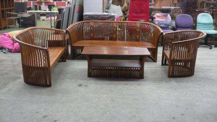 樂居二手家具 全新中古傢俱賣場 TK207*全新實木柚木木沙發123含大小茶几桌*原木木板椅 客廳桌椅拍賣 餐桌椅 鞋櫃