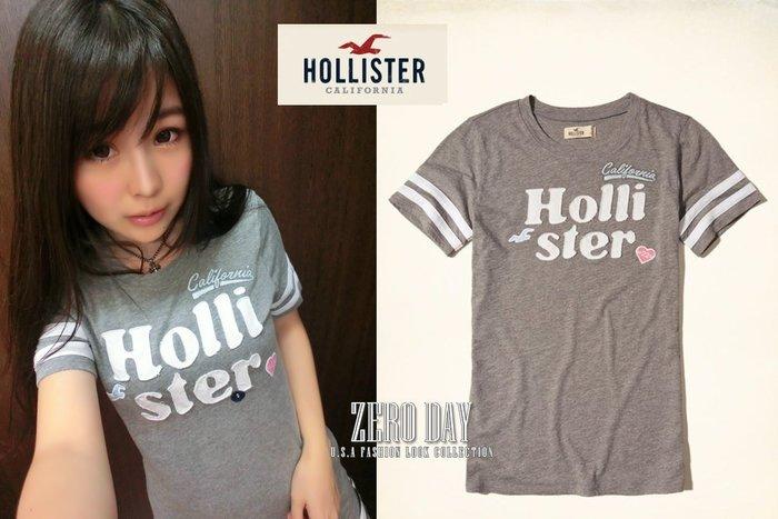 零時差美國時尚網A&F副牌HCO真品Hollister Applique Logo Graphic Tee休閒貼布短T灰