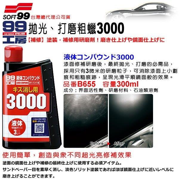 和霆車部品中和館—日本SOFT99 3微米研磨粒子 超光亮修補粗蠟3000 漆面修補研磨後最終拋光推薦 B655