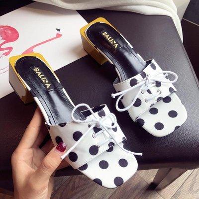 Ekool正韓鞋包~ 一字拖女18年夏季新款露趾波點女涼拖低跟鞋系帶女鞋外穿涼拖百搭