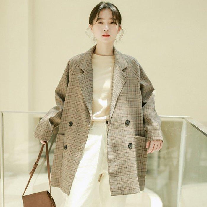 SeyeS  時尚復古率性優雅簡約OL春夏秋薄款格紋西裝外套