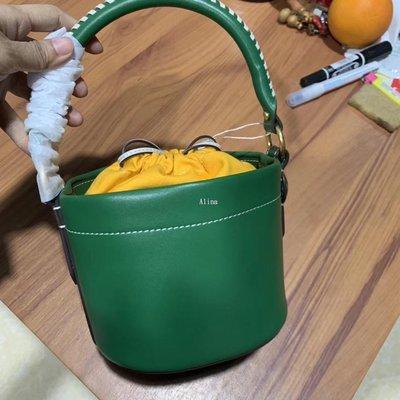 Alina精品代購TORY BURCH 美國輕奢時尚 綠色小巧野餐桶包 美國代購