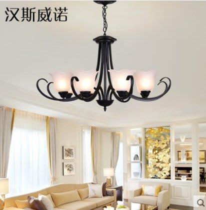 美式吊燈客廳燈簡約奢華餐廳燈鐵藝美式吊燈書房燈具燈飾6頭 啞黑(不帶光源)