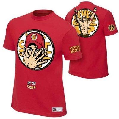 摔跤衣服WWE John Cena U Can Me Authentic 紅色最新款短袖T恤 約翰賽納圓領短袖T恤