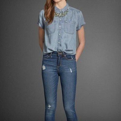 A  F  Sadie Denim Shirt 女版牛仔短袖襯衫~  XS 含運 1700