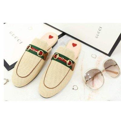 全新正品 Gucci Women's Princetown Canvas Slipper 米色紅綠條紋帆布愛心拖鞋
