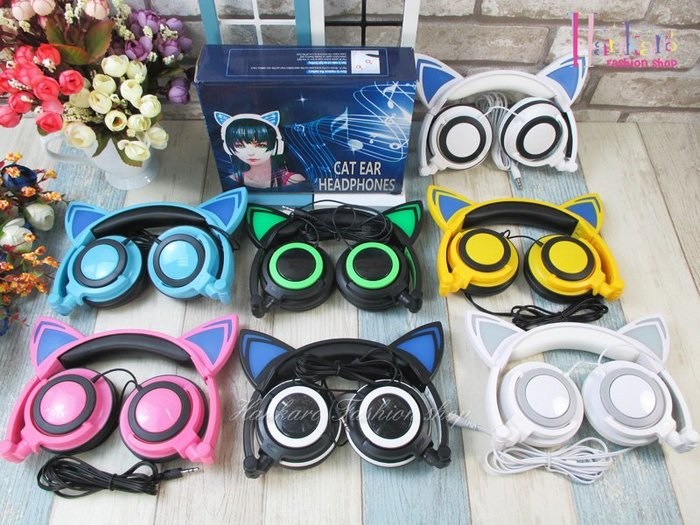 ☆[Hankaro]☆ 歐美流行熱銷貓耳造型頭戴式可折疊耳機