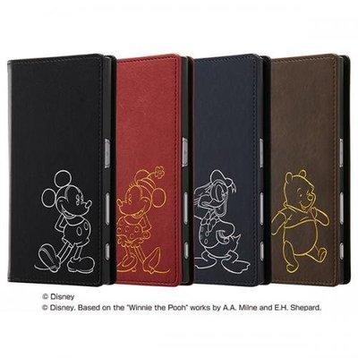 尼德斯Nydus 日本正版 Sony Xperia XZ 手機殼 翻頁皮套 迪士尼 米奇 米妮 唐老鴨 小熊維尼 深色款