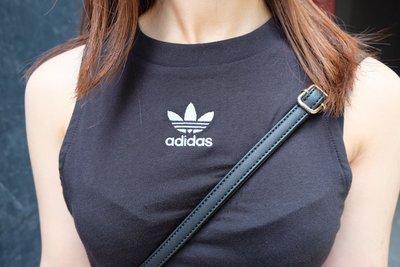 愛迪達 Adidas original 三葉草 短版無袖背心 側邊三線 彈性材質 女用 黑色