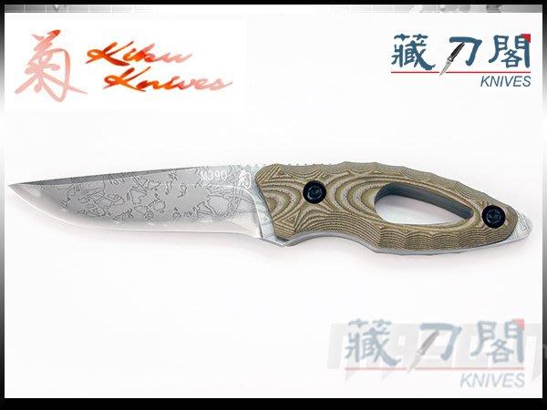 《藏刀閣》松田菊男-(KM-100)WAKABA-若葉綠電木柄小直刀(M390鋼)