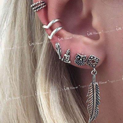 IN House*🇹🇼現貨 一套6個 earring 歐美復古 仿古銀 耳骨夾 耳釘 耳環 個性簡約耳圈 男女耳飾