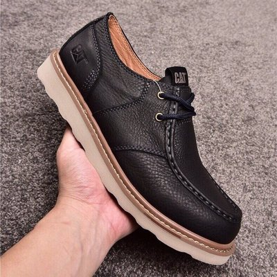 CAT/卡特男士低幫系帶真皮休閒皮鞋英倫風戶外休閒鞋 黑色 39-44碼