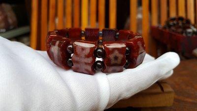 西藏天珠材質圖騰瑪卡石活玉手排鑲蝕 天然純淨老礦新採 磁場乾淨 能量強【東大開運館】