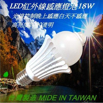 LED 紅外線感應燈泡 18W  E27燈頭 全電壓.台灣製
