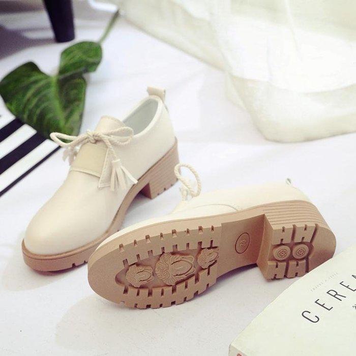 英倫風新款流蘇繫帶小皮鞋女粗跟中跟單鞋學生女鞋子