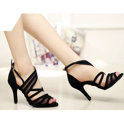 5Cgo【鴿樓】會員有優惠 45368207575 蕾絲拉丁舞鞋女成人高跟夏季廣場交誼舞蹈跳舞涼鞋恰恰軟底