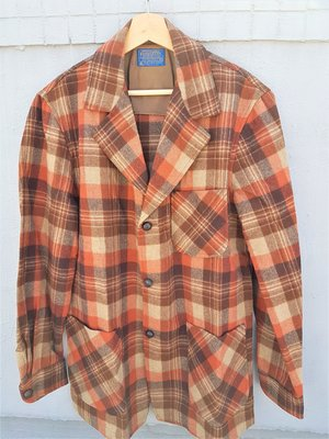 80s Vintage Pendleton 格紋羊毛 獵裝 外套  美國製 Woolrich可參考