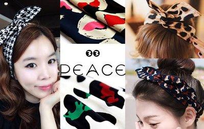 【PEACE33】正韓國空運進口。經典新上款 英倫格紋千鳥格點點 愛心豹紋塗鴉玫瑰嘴唇布藝可調兔耳朵髮帶/髮圈。現+預