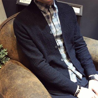 FAS882•2018秋季新品原創高品質不起球針織衫外套 休閒純色排扣修身毛衣開衫男修身款2色選