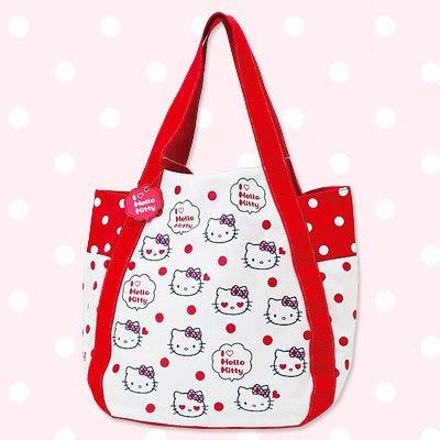*凱西小舖*日本進口三麗歐正版凱蒂貓I LOVE HELLO KITTY系列二彈手提/肩背大袋
