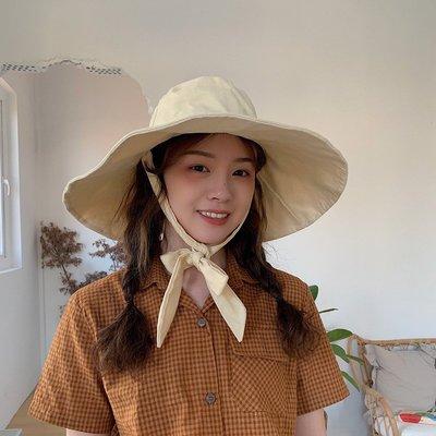 夏季必備 帽子 全方位防曬復古綁帶加長檐漁夫遮陽帽子女夏季度假太陽帽