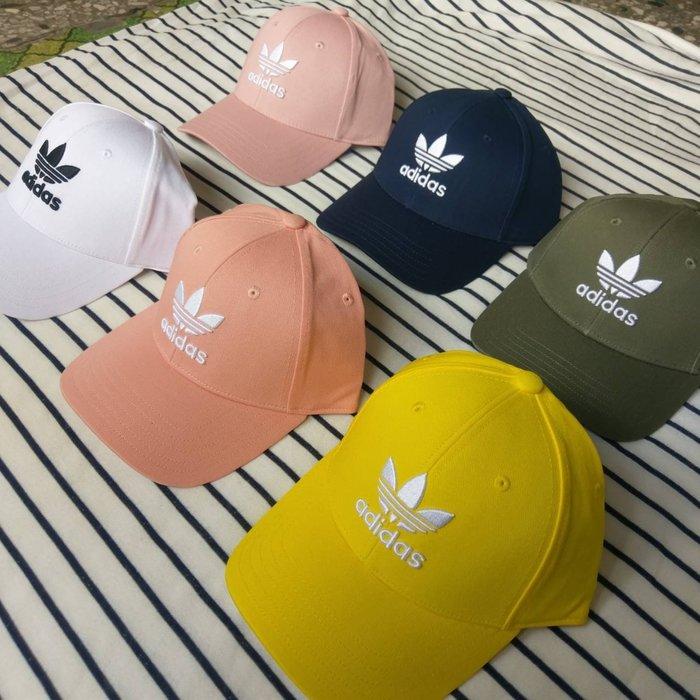 DV0173 FJ2544 ED9387 EK2994 ADIDAS 運動帽 老帽 白藍綠黃粉 三葉草 情侶帽