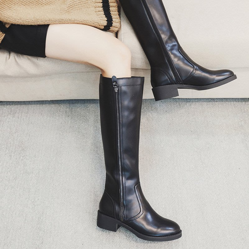 H.G.M 歐美 圓頭 粗跟 中跟 高筒靴 帥氣 騎士靴 長靴 HKK1013